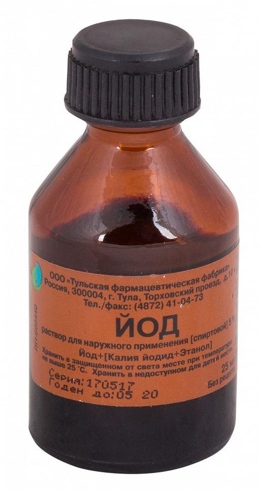 Йода раствор спиртовой 5%, 5%, раствор для наружного применения спиртовой, 25 мл, 1шт.