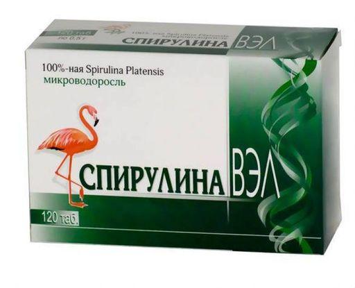 Спирулина ВЭЛ, 0.5 г, таблетки, 120шт.
