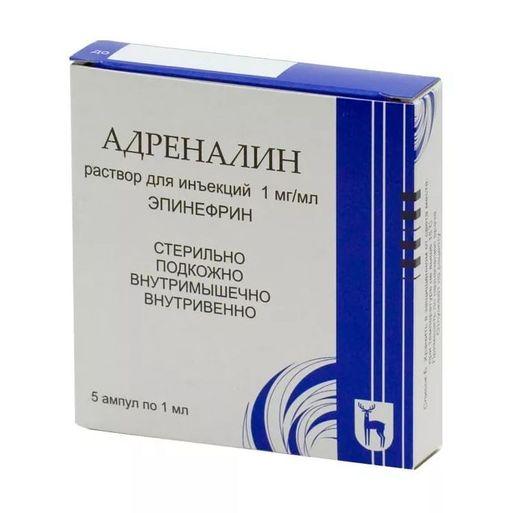 Адреналин, 1 мг/мл, раствор для инъекций, 1 мл, 5шт.