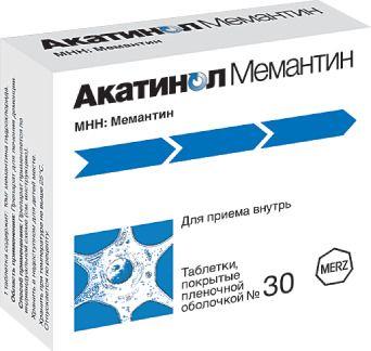 Акатинол Мемантин, 10 мг, таблетки, покрытые пленочной оболочкой, 30шт.