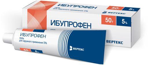 Ибупрофен (гель), 5%, гель для наружного применения, 50 г, 1шт.