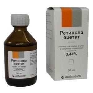 Ретинола ацетат, 3.44%, раствор для приема внутрь и наружного применения (масляный), 50 мл, 1шт.