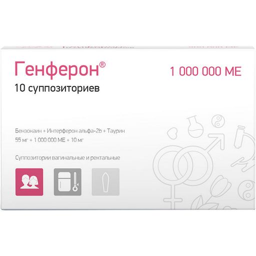 Генферон, 1000000 МЕ+10 мг+55 мг, суппозитории вагинальные и ректальные, 10шт.
