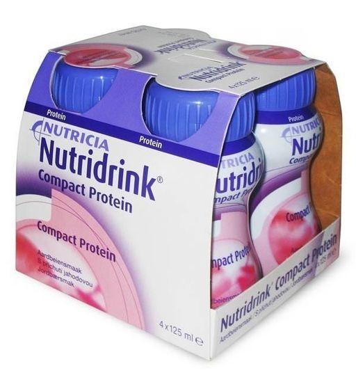 Nutridrink compact protein, жидкость для приема внутрь, со вкусом клубники, 125 мл, 4шт.