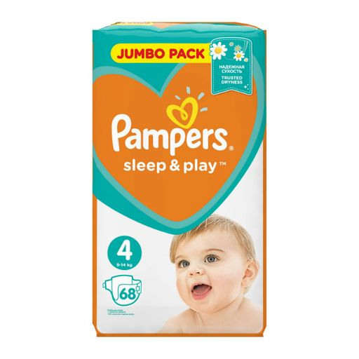 Pampers Sleep&Play Подгузники детские, р. 4, 9-14 кг, 68шт.