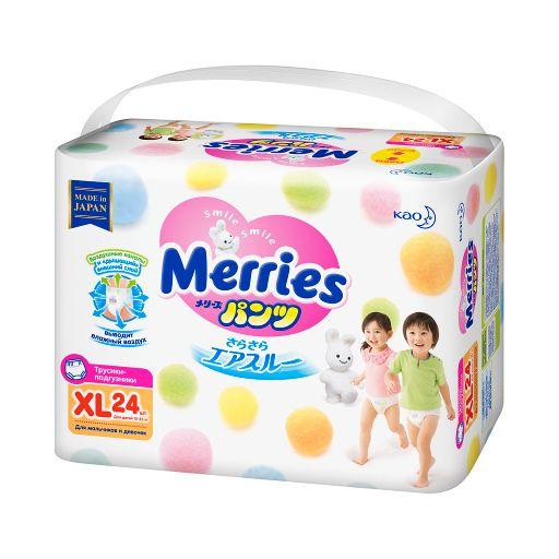 Подгузники-трусики детские Merries, 12-22 кг, XL, 24шт.