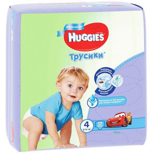 Huggies Подгузники-трусики детские, р. 4, 9-14 кг, для мальчиков, 17шт.