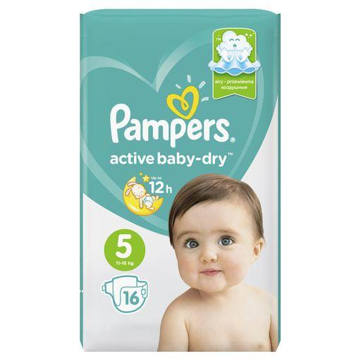 Pampers Active baby-dry Подгузники детские, р. 5, 11-16 кг, 16шт.