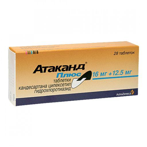 Атаканд Плюс, 12.5 мг+16 мг, таблетки, 28шт.