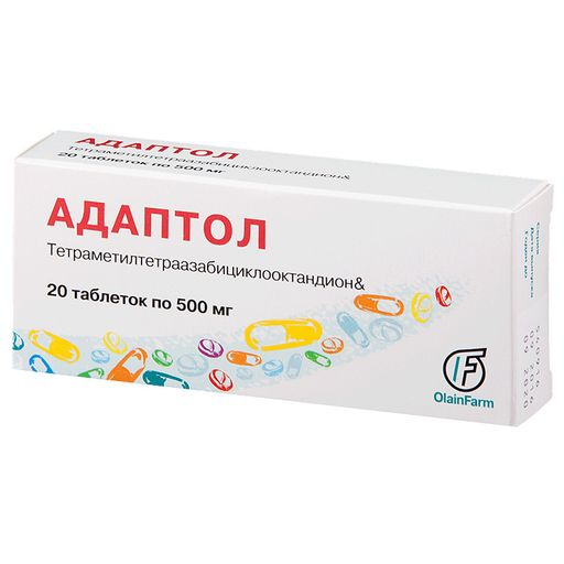 Адаптол, 500 мг, таблетки, 20шт.