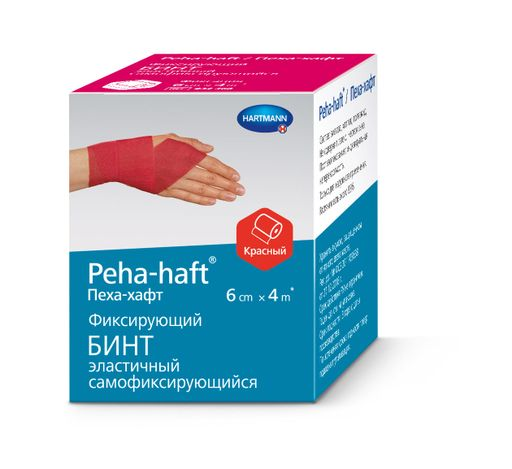 Peha-haft Бинт самофиксирующийся, 6смх4м, красного цвета, 1шт.