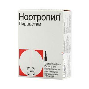 Ноотропил, 200 мг/мл, раствор для внутривенного и внутримышечного введения, 5 мл, 12шт.