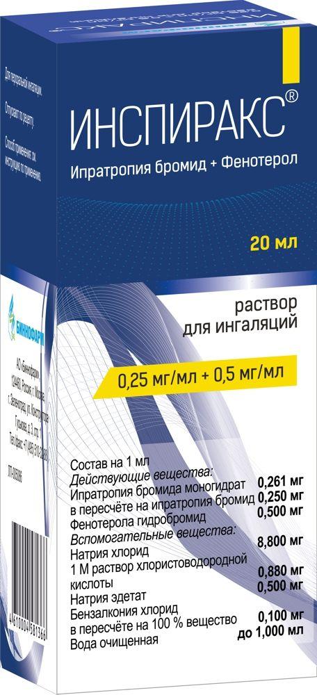 Инспиракс, 0.25 мг+0.5 мг/мл, раствор для ингаляций, 20 мл, 1шт.