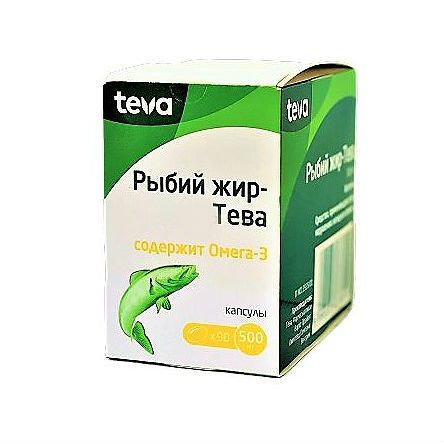 Рыбий жир Тева, 500 мг, капсулы, 90шт.