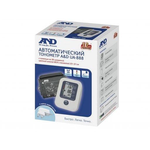 Тонометр автоматический AND UA-888 AC с адаптером и универсальной манжетой, 1шт.