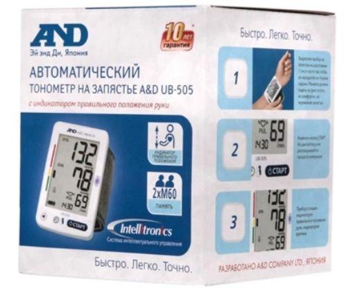 Тонометр автоматический AND UB-505 на запястье, на запястье, 1шт.