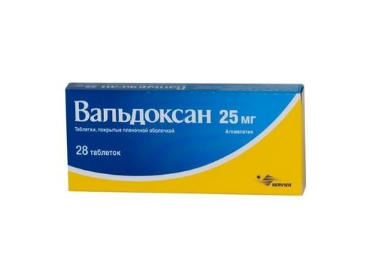 Вальдоксан, 25 мг, таблетки, покрытые пленочной оболочкой, 28шт.