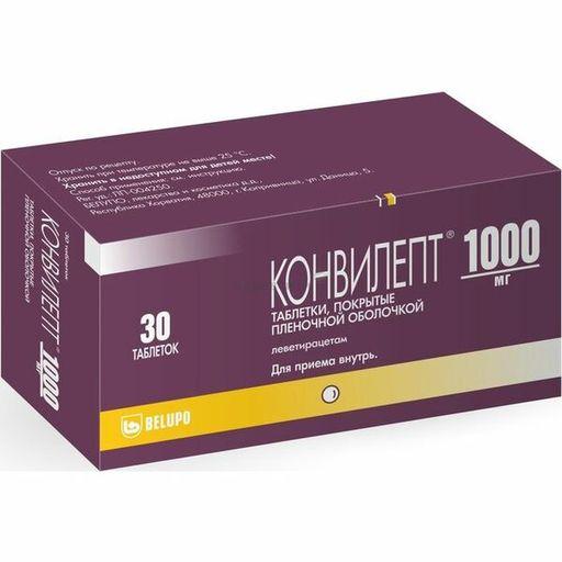 Конвилепт, 1000 мг, таблетки, покрытые пленочной оболочкой, 30шт.