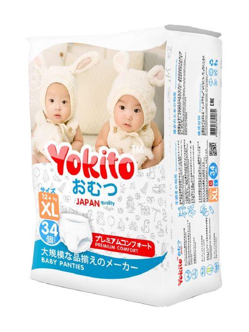 Подгузники-трусики детские YOKITO 12+, XL, 1600 г, 34шт.