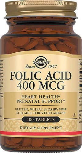 Solgar Фолиевая кислота, 400 мг, таблетки, 100шт.