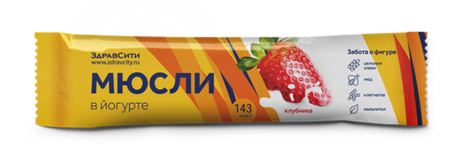 Здравсити Батончик мюсли клубничный в йогуртной глазури, 30 г, 1шт.