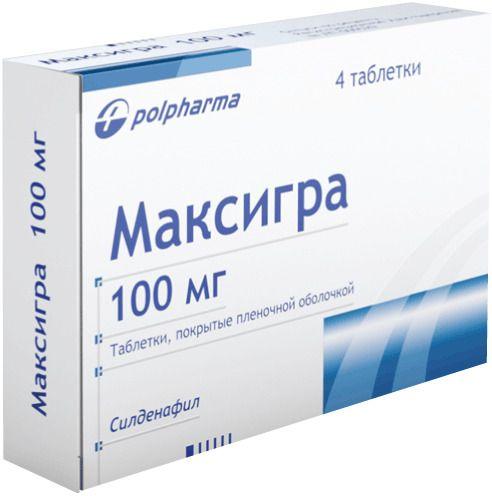 Максигра, 100 мг, таблетки, покрытые пленочной оболочкой, 4шт.