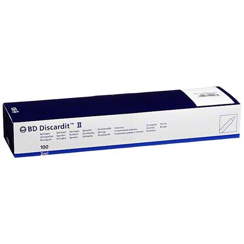 Шприц BD DISCARDIT II 2мл, 2 мл (23 G 0.6 х 30 мм), 100шт.