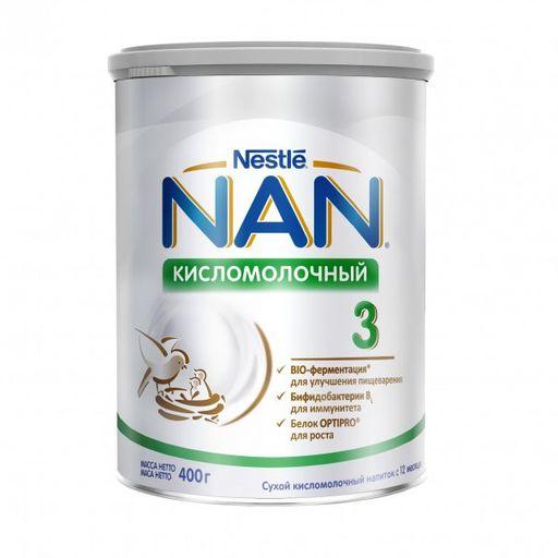 NAN 3 Кисломолочный, для детей с 12 месяцев, напиток молочный сухой, с пробиотиками, 400 г, 1шт.