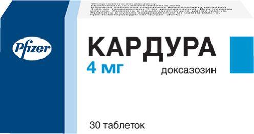 Кардура, 4 мг, таблетки, 30шт.