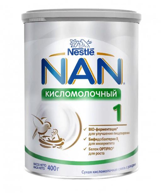 NAN 1 Кисломолочный, для детей с рождения, смесь кисломолочная сухая, с пробиотиками, 400 г, 1шт.