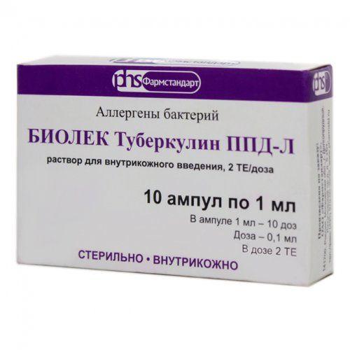 БИОЛЕК Туберкулин ППД-Л, 2 ТЕ/доза, раствор для внутрикожного введения, 1 мл, 10шт.