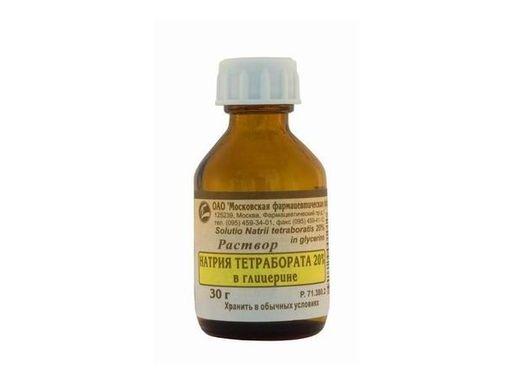 Натрия тетраборат, 20%, раствор для местного и наружного применения, 30 г, 1шт.