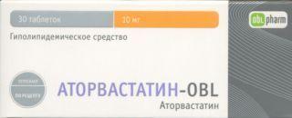 Аторвастатин-OBL, 10 мг, таблетки, покрытые пленочной оболочкой, 30шт.