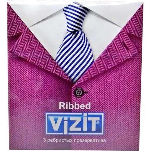 Презервативы Vizit Ribbed, презерватив, ребристые, 3шт.