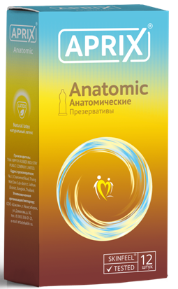 Презервативы Aprix Anatomic, презерватив, анатомической формы, 12шт.