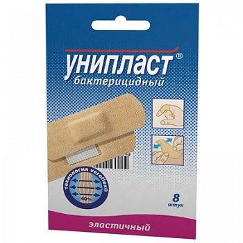 Унипласт лейкопластырь бактерицидный эластичный, 1.9х7.2, пластырь медицинский, из эластичной ткани, 8шт.