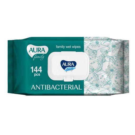 Aura Family салфетки влажные антибактериальные для всей семьи, салфетки влажные, 144шт.