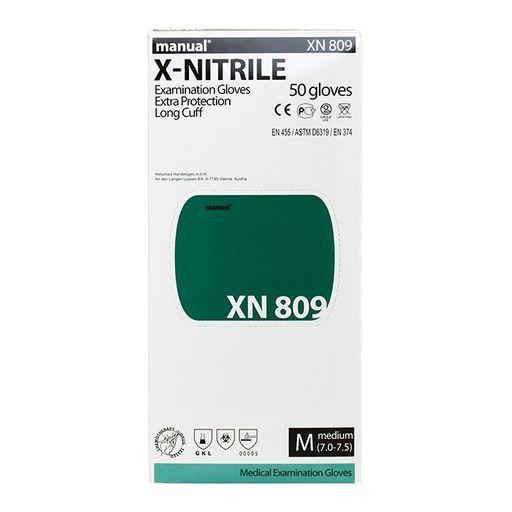 Перчатки смотровые нитриловые Manual XN 809 неопудренные, размер M, нестерильная (ые, ый), 50шт.