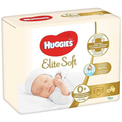 Huggies Elite Soft Подгузники детские, р. 0, до 3,5 кг, 25шт.