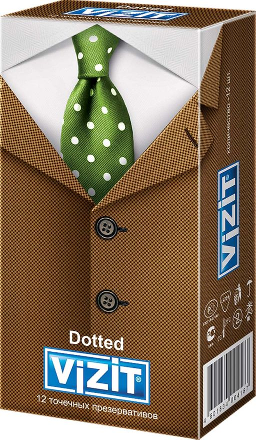 Презервативы Vizit Dotted, презерватив, с точками, 12шт.