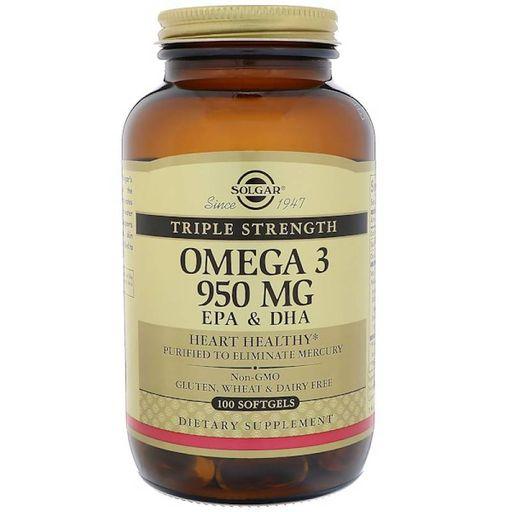 Solgar Тройная Омега-3 950 ЭПК и ДГК, 950 мг, 100шт.