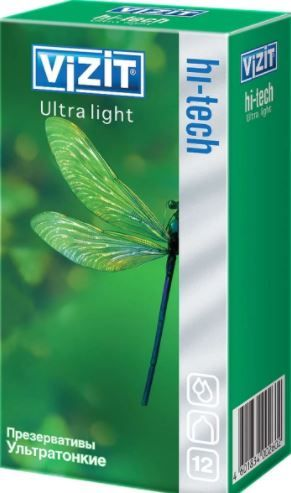 Презервативы Vizit Hi-Tech Ultra light, презерватив, ультратонкие, 12шт.