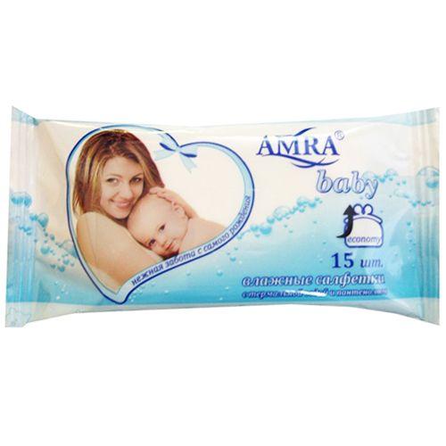 Amra салфетки влажные детские, 15шт.