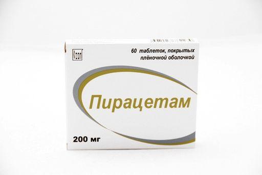 Пирацетам, 200 мг, таблетки, покрытые пленочной оболочкой, 60шт.