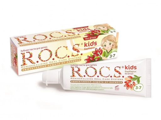 ROCS Kids Зубная паста Барбарис, без фтора, паста зубная, 45 г, 1шт.