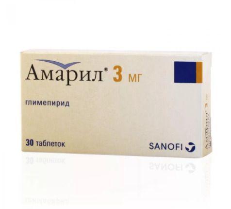 Амарил, 3 мг, таблетки, 30шт.
