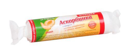 Витатека Аскорбинка с сахаром, 2.9 г, таблетки, со вкусом дыни, 10шт.