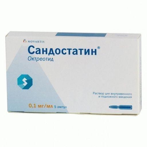 Сандостатин, 0.1 мг/мл, раствор для внутривенного и подкожного введения, 1 мл, 5шт.