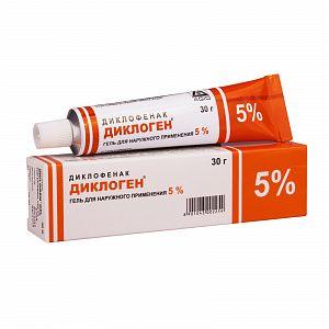 Диклоген, 5%, гель для наружного применения, 30 г, 1шт.