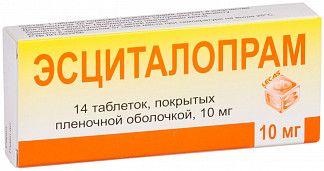 Эсциталопрам, 10 мг, таблетки, покрытые пленочной оболочкой, 14шт.